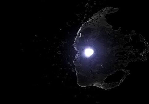 3d illustration of black fluid face with glowing eye